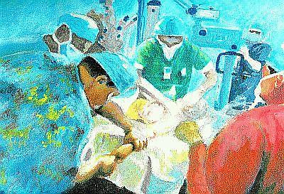 Doctors Painting - The Operation  by Anthony Renardo Flake