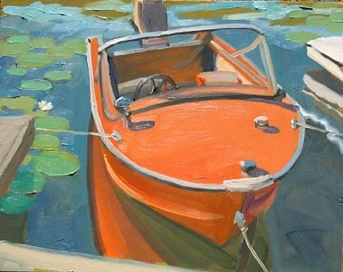 The Orange Boat Painting by Margie Guyot