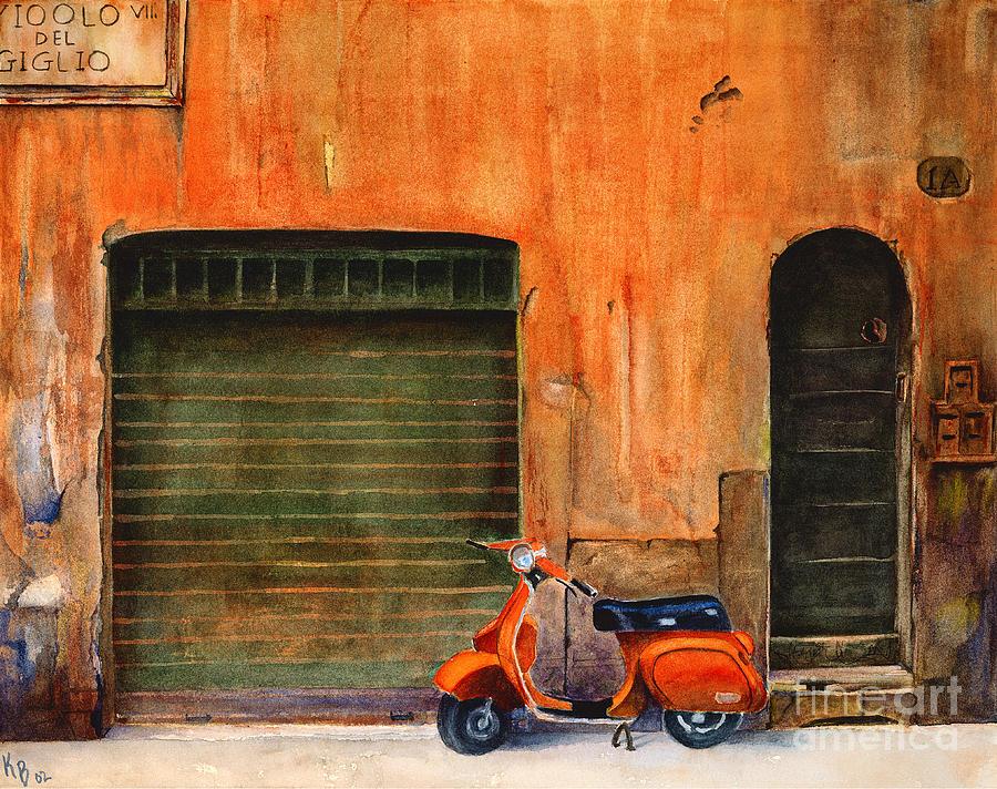 Vespa Painting - The Orange Vespa by Karen Fleschler