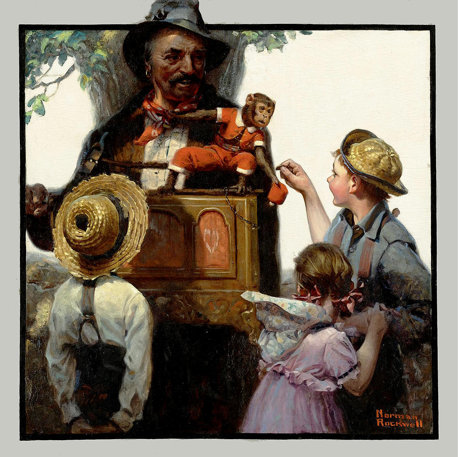 The Organ Grinder Painting - The Organ Grinder by Norman Rockwell