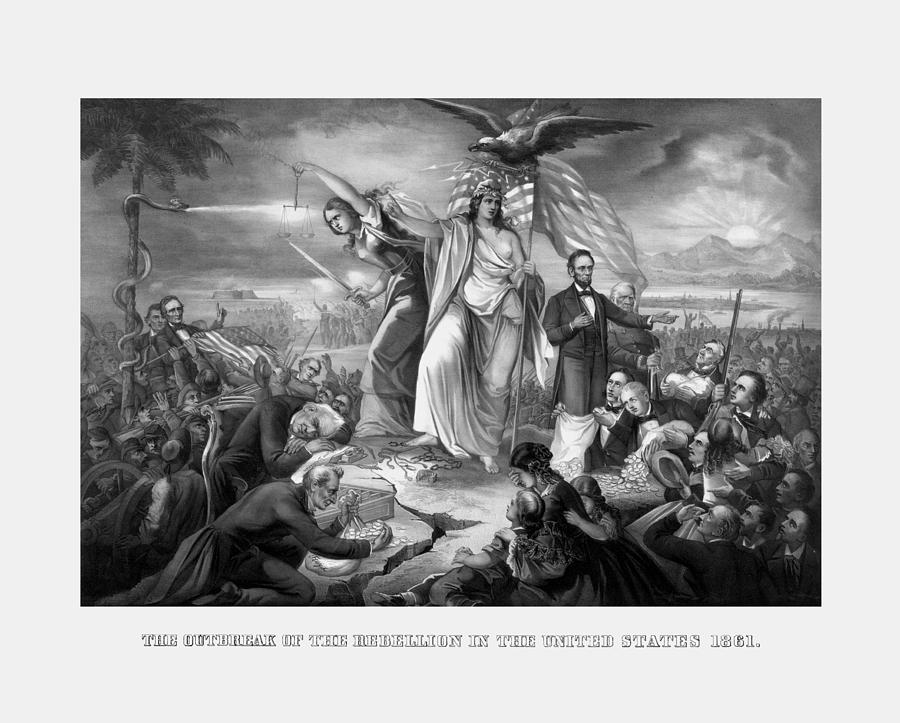 Civil War Drawing - The Outbreak Of The Rebellion In The United States by War Is Hell Store