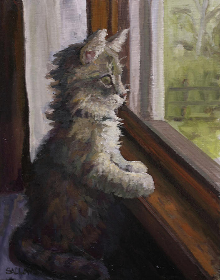 Kitten Painting - The Outside World by Nora Sallows