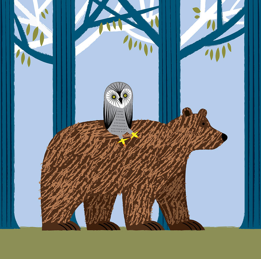 Bears Digital Art - The Owl and the Bear by Oliver Lake