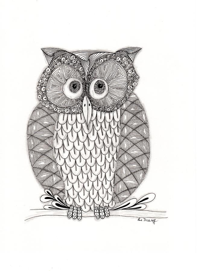 Owl Drawing - The Owls Who by Paula Dickerhoff