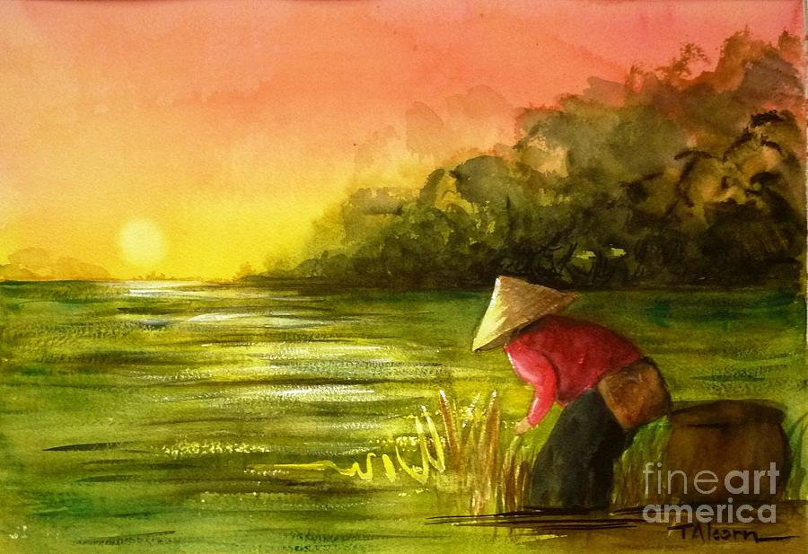 Asia Painting - The Paddy Field by Therese Alcorn