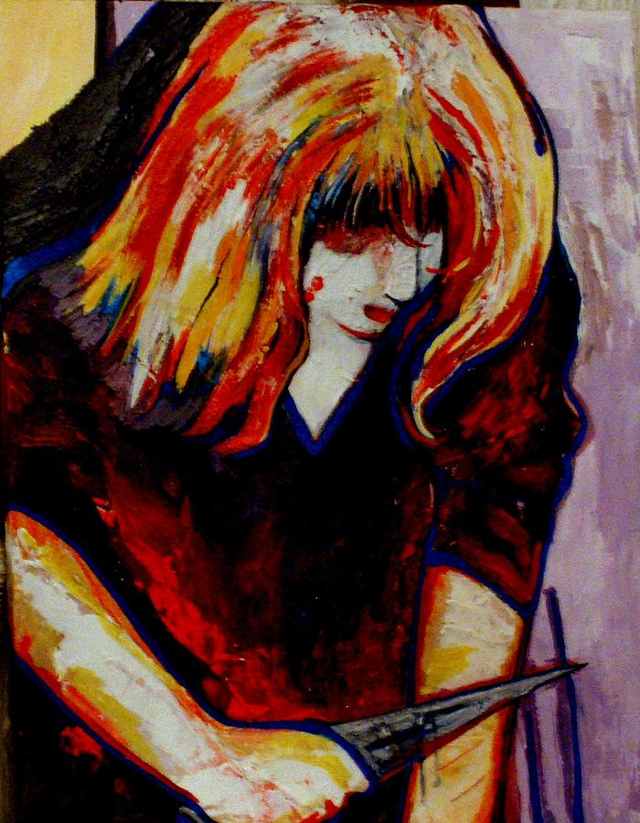 Girl Painting - The Pain Makes Her Feel by Lavinia Young