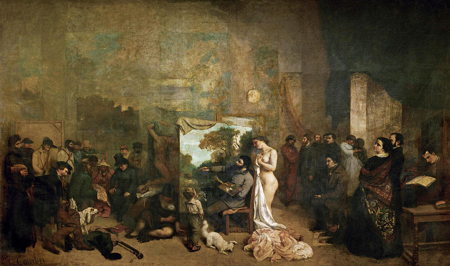 Gustave Courbet Painting - The Painters Studio. A Real Allegory of a Seven Year Phase in my Artistic and Moral Life by Gustave Courbet