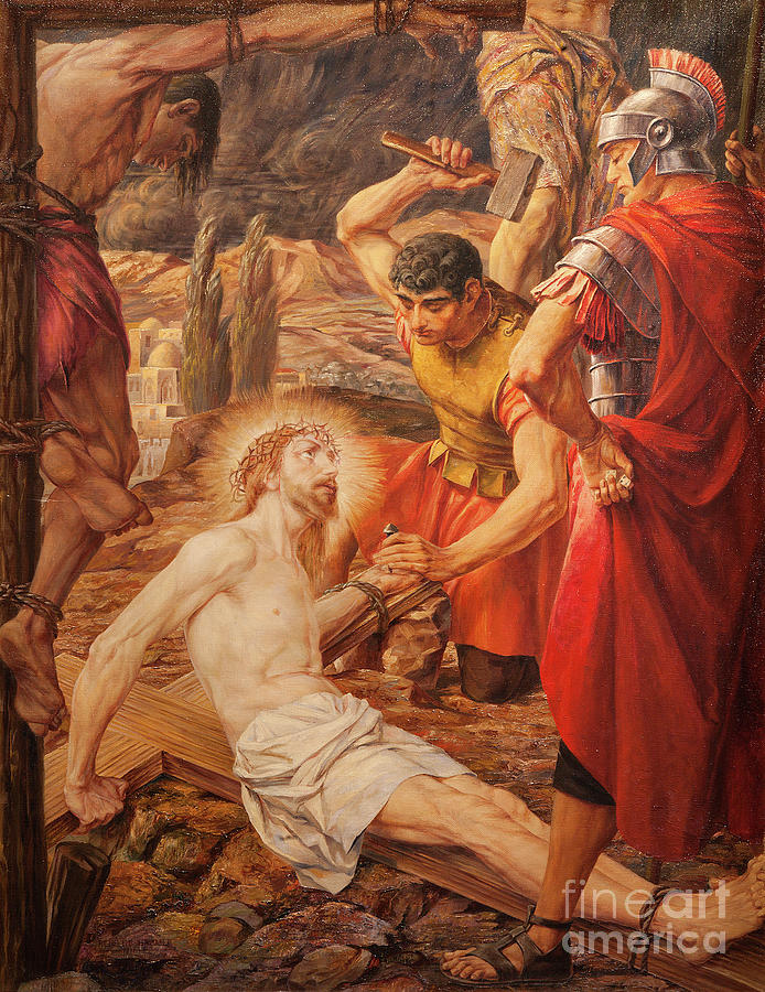 The Painting Jesus Is Nailed To The Cross By Josef Piens Cooreman ...