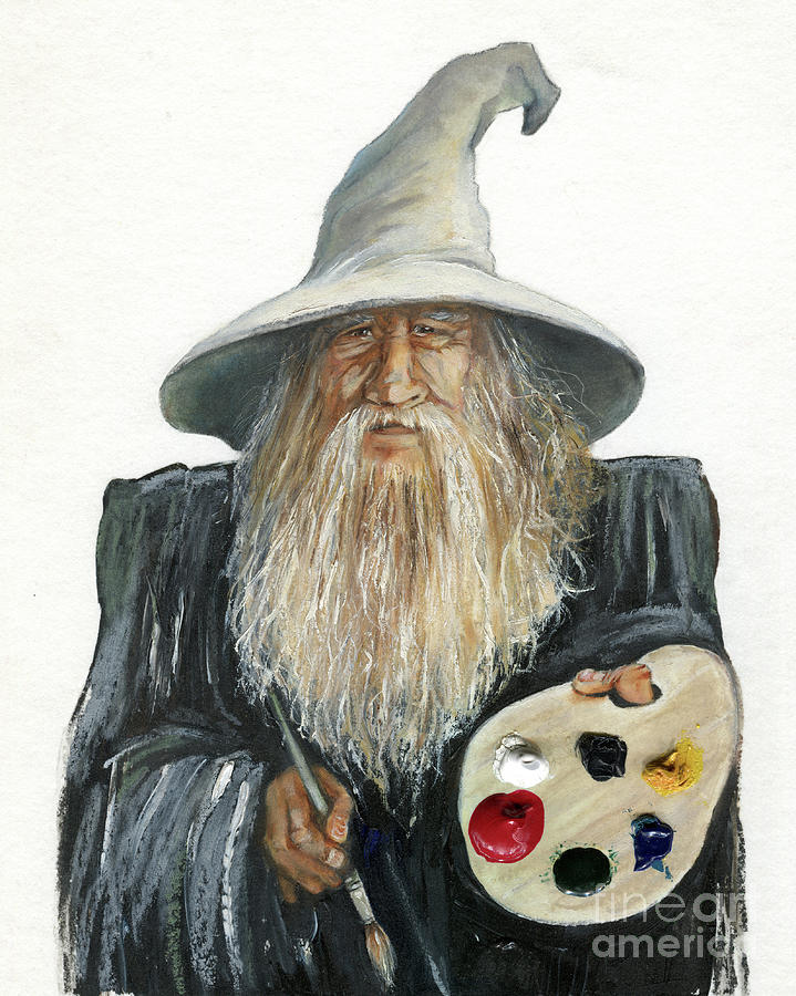 Wizard Painting - The Painting Wizard by J W Baker