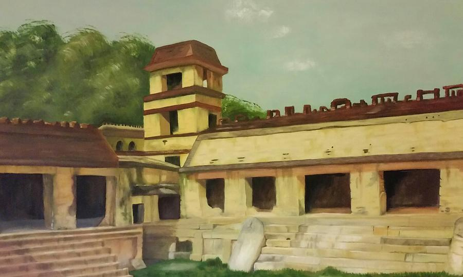 Palenque Painting - The Palace At Palenque by Glory Story Treasures