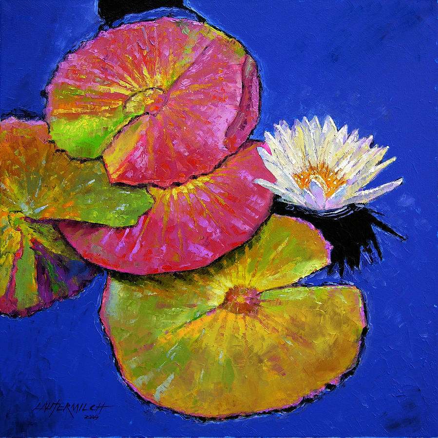 Water Lily Painting - The Palletes of Fall by John Lautermilch
