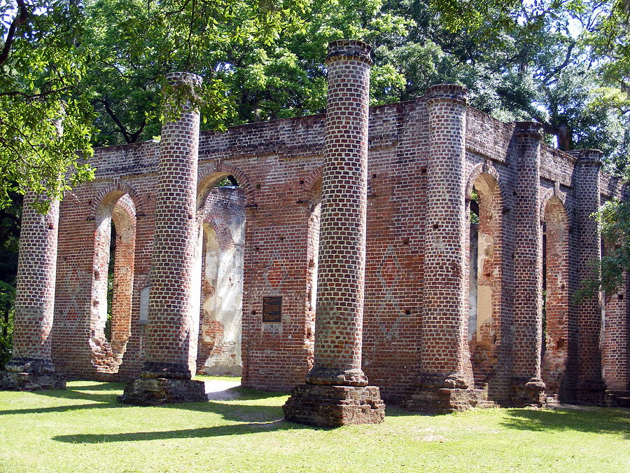 Beaufort Photograph - The Palmetto Phoenix Old Sheldon Church Ruins by Elena Tudor