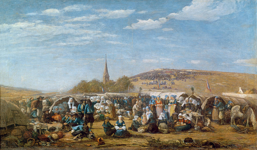 The Painting - The Pardon Of Sainte Anne La Palud by Eugene Louis Boudin