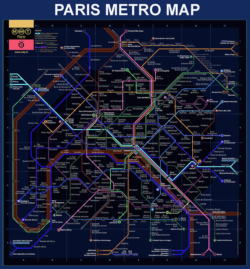 The Paris Metro Map In Blue by Bill Cannon on map of giza, map of nyc subway, map of miami, map berlin metro, map of mediterranean sea, map of occupied palestinian territories, map of salt lake temple, map of f train, map of tokyo subway, map of hong kong mtr, map of upper peninsula of michigan, map of barents sea, map rome metro, map of untied states, map of lower east side of manhattan, map of moscow subway, map of new york subway, map of london underground, paris arrondissement map with metro, map of greater boston area,