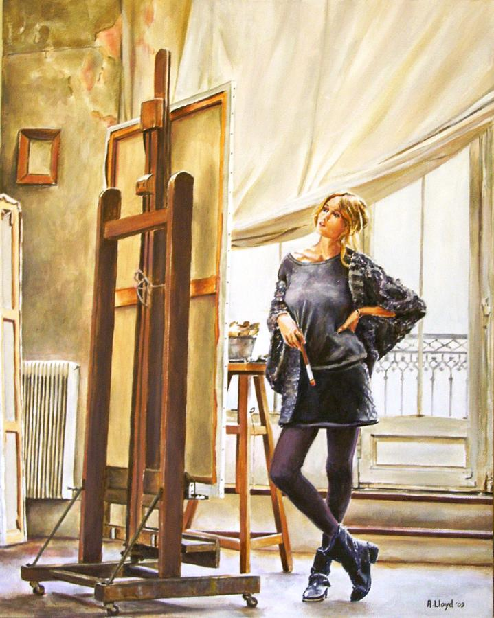 Woman Painting - The Paris Studio by Andy Lloyd
