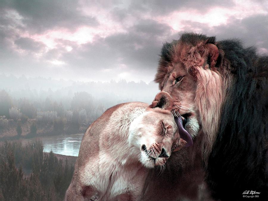 Lions Digital Art - The Passion by Bill Stephens