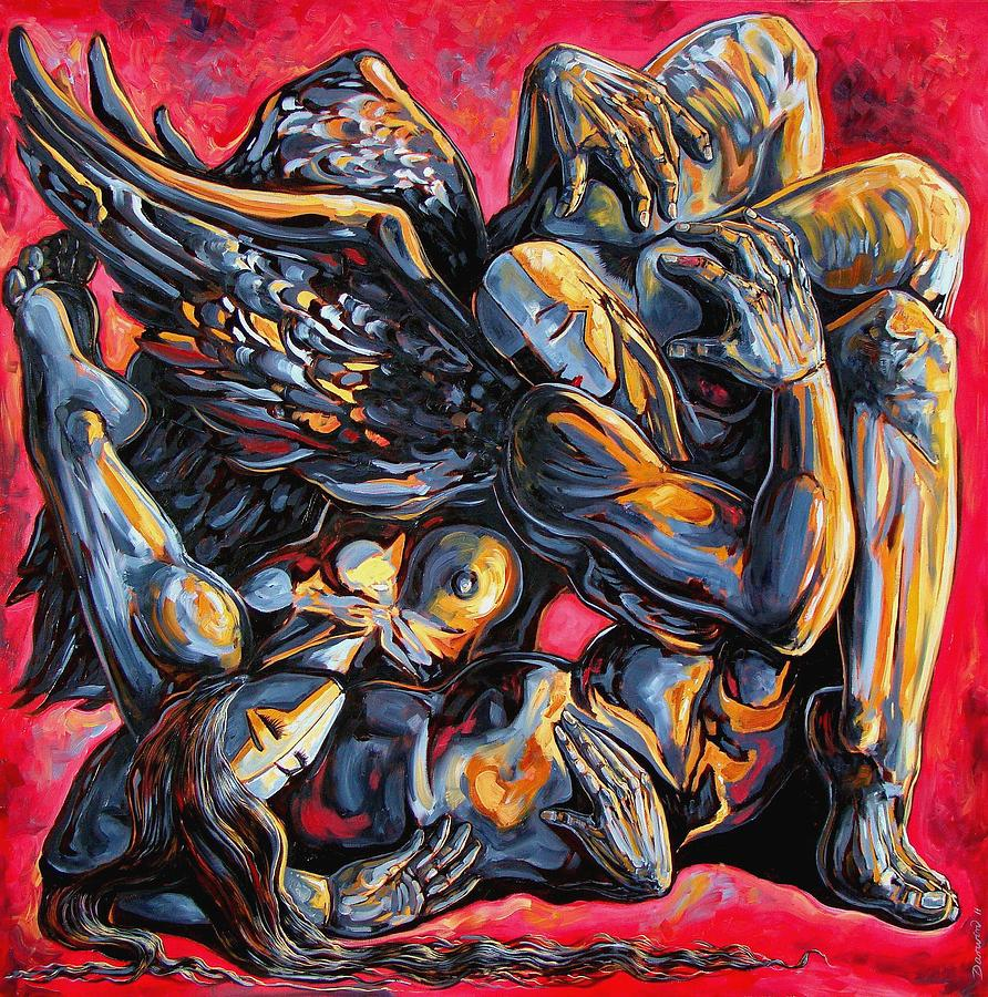 Surrealism Painting - The passion of the fallen by Darwin Leon