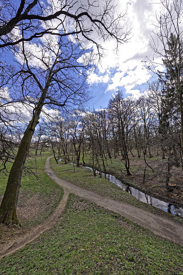 Alley Photograph - The path by the river in the park Sub Arini Sibiu Romania by Adrian Bud