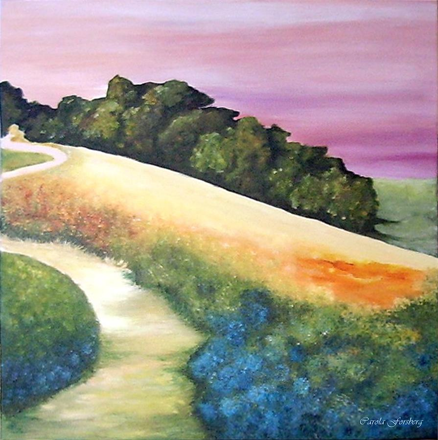 Landscape Painting - The Path Over The Hill by Carola Ann-Margret Forsberg