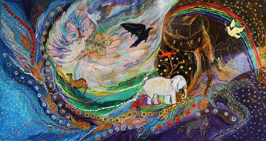 Hebrew Letters Painting - The Patriarchs Series - Ark Of Noah by Elena Kotliarker