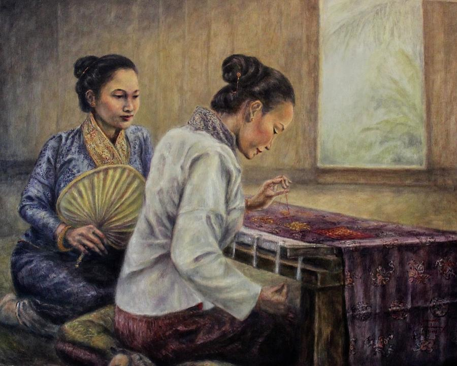 The Patron and Embroiderer by Sompaseuth Chounlamany