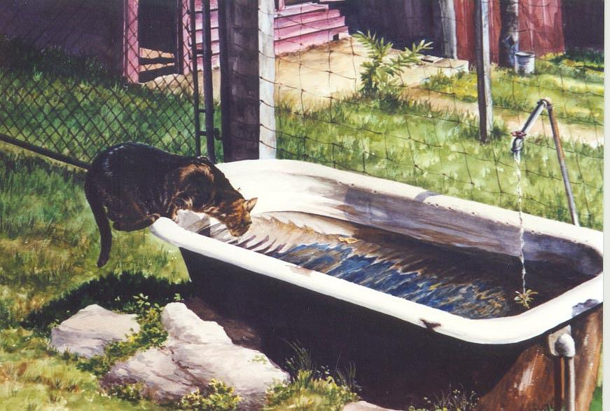 Cat Painting - The Paws That Refreshes by Marion  Hylton