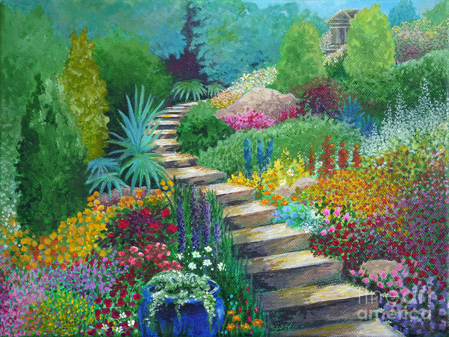 Garden Painting - The Peaceful Path by Julia Underwood