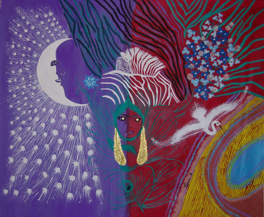 Modern Painting - The Peacock Moon by Sima Amid Wewetzer