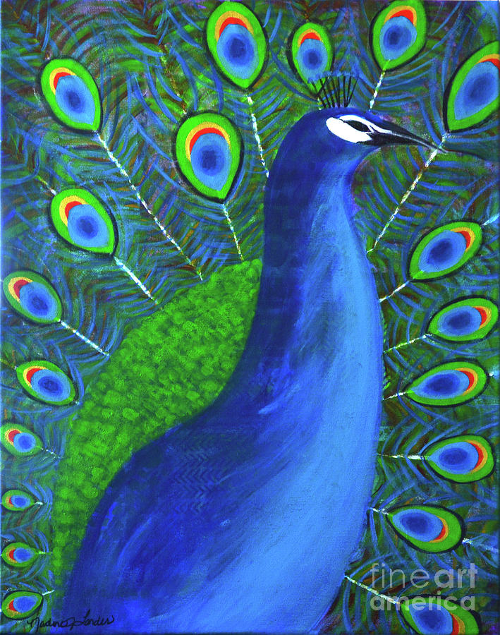 Peacock Painting - The Peacock  by Nadine Larder