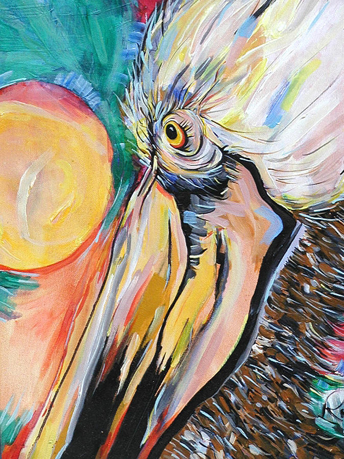 Birds Painting - The Pelican And The Sun by Robert R Ferguson