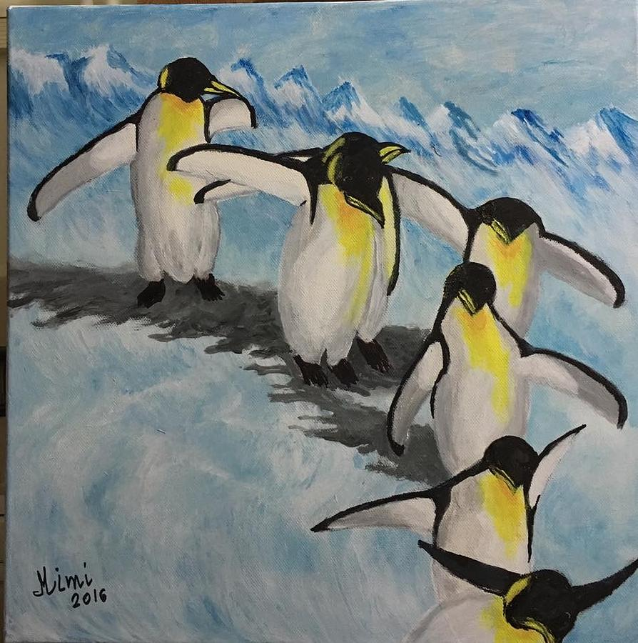 Animals Painting - The Penguins Convey by Mimi Eskenazi