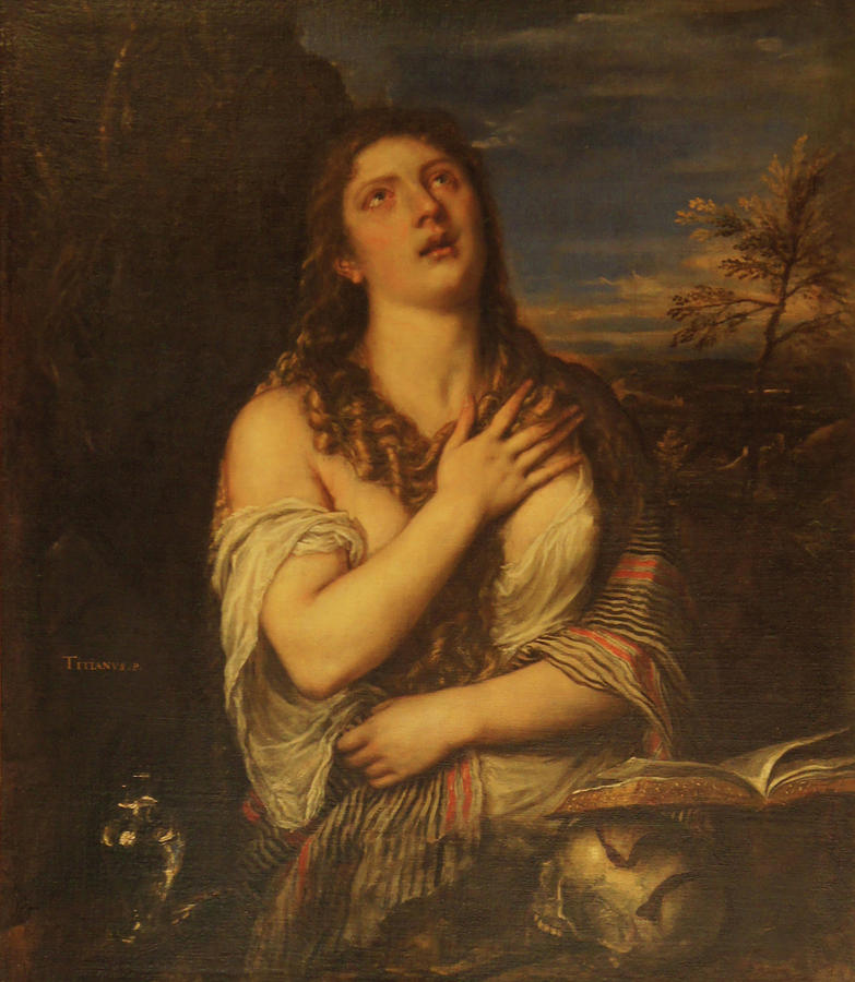 The Penitent Mary Magdaline Painting by Titian