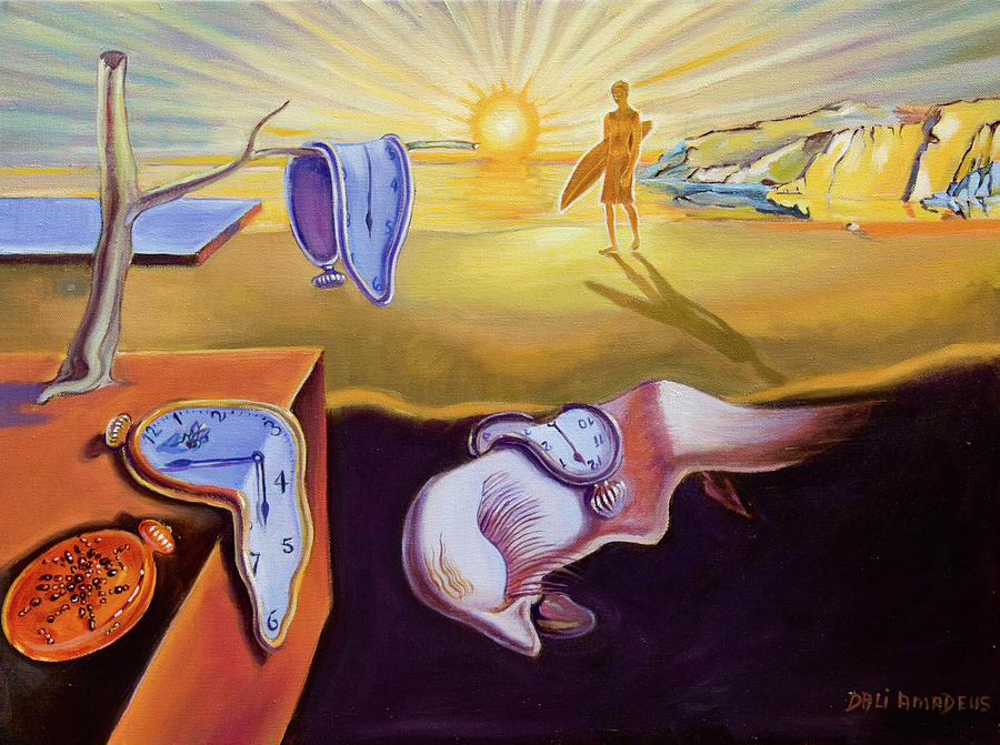Oil Painting Painting - The Persistence Of Memory-amadeus Series  by Dominique Amendola