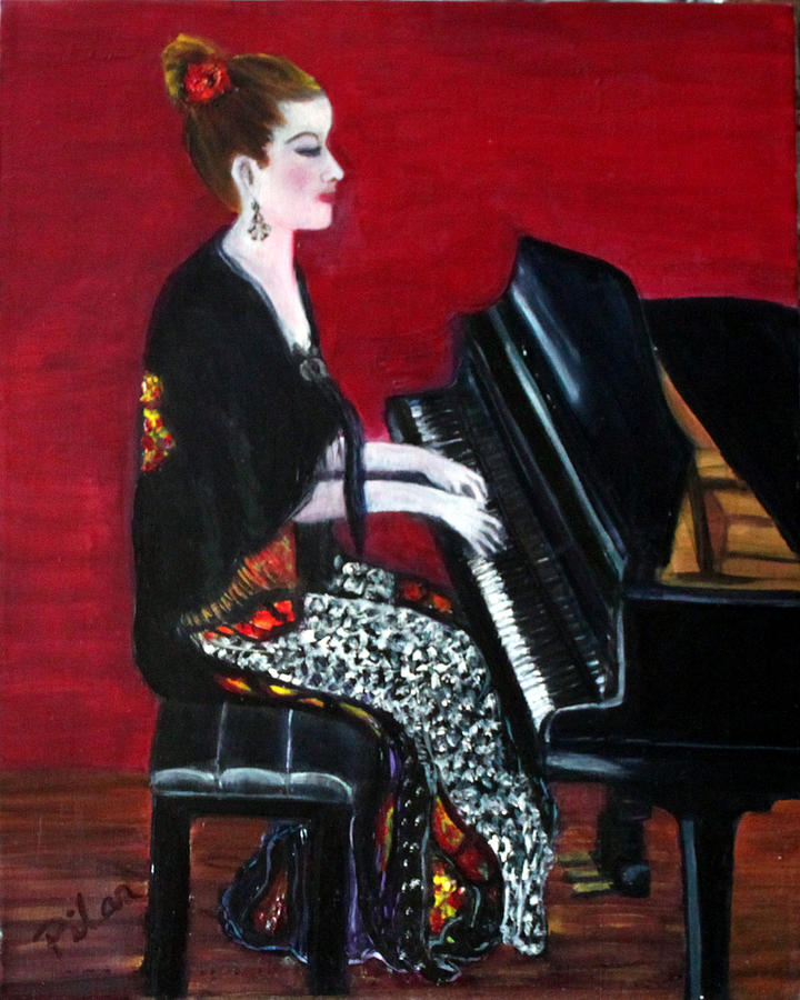 Piano Player Painting - The Pianist by Pilar  Martinez-Byrne