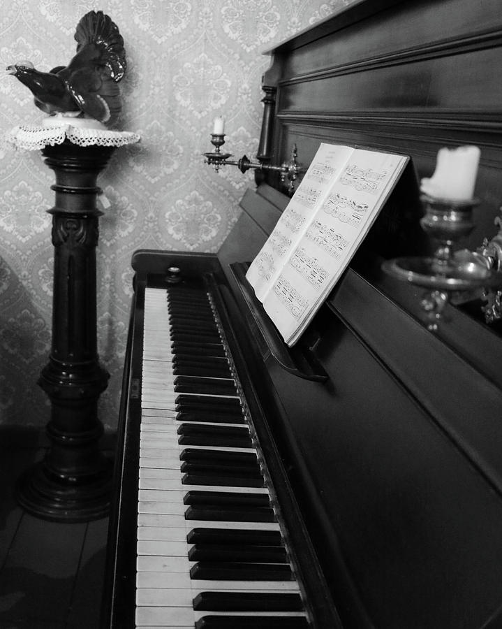 Piano Photograph - The Piano - Black And White by Lee Hart