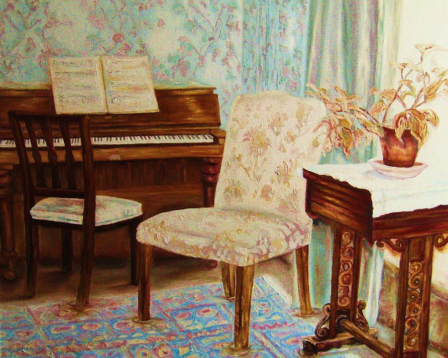 Music Theme Painting - The Piano Room by Carole Spandau