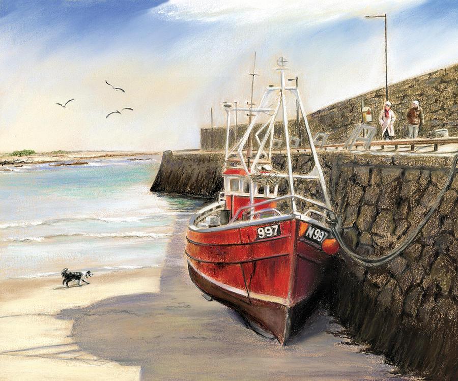 Spiddal Painting - The Pier At Spiddal Galway Ireland by Irish Art
