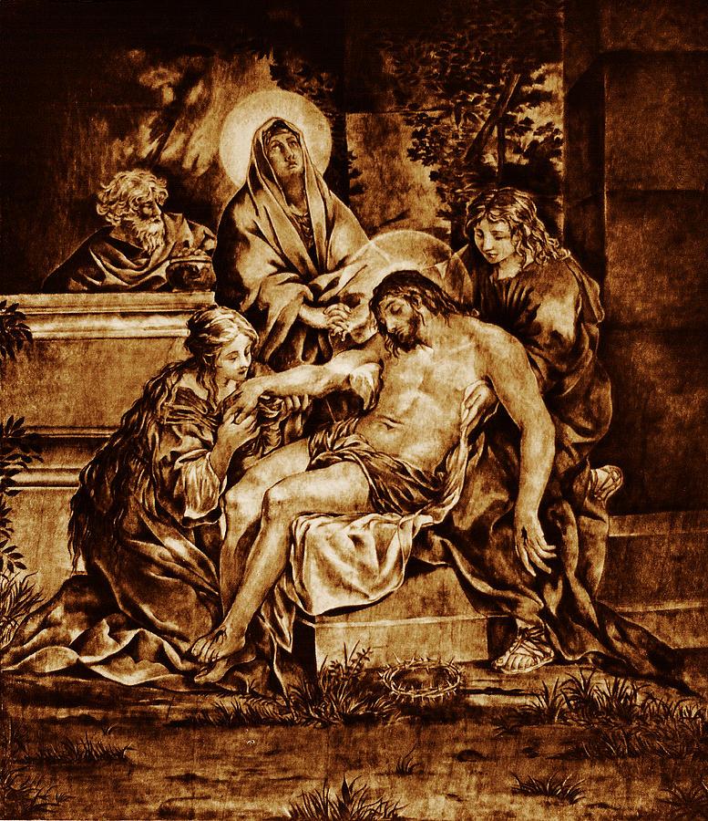 On Wood Pyrography - The Pieta by Dino Muradian