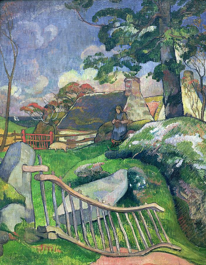 The Wooden Gate Or Painting - The Pig Keeper by Paul Gauguin