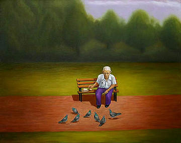 Landscape Painting - The Pigeon Man Of Forest Park by Stephen Degan