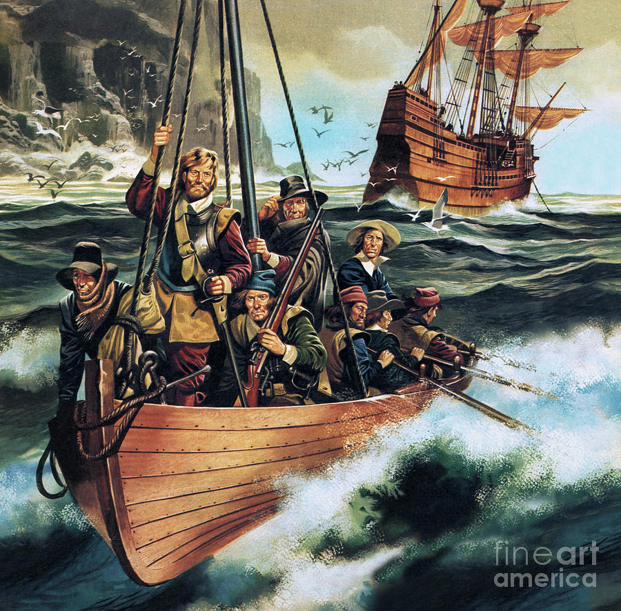 Pilgrim Fathers Painting - The Pilgrim Fathers  Men Of The Mayflower by Ron Embleton
