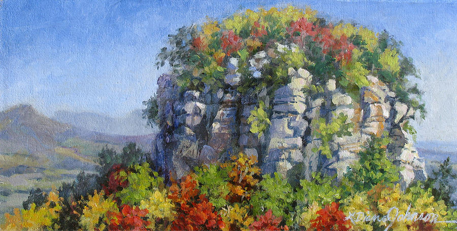 Mountains Painting - The Pilot - Pilot Mountain by L Diane Johnson