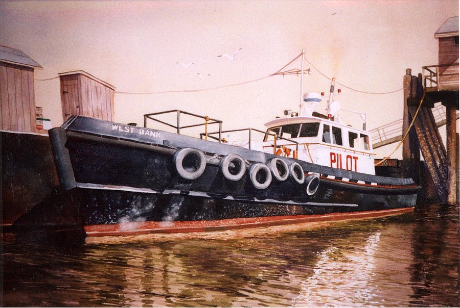 Pilot Boat Painting - The Pilot Boat by Marguerite Chadwick-Juner
