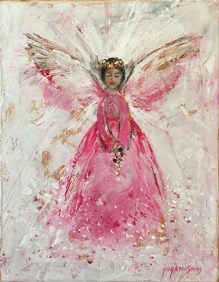 Angel Painting - The Pink Angel  by Jun Jamosmos