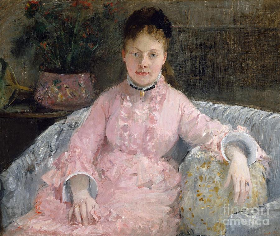 1870 Painting - The Pink Dress, Circa 1870 by Berthe Morisot