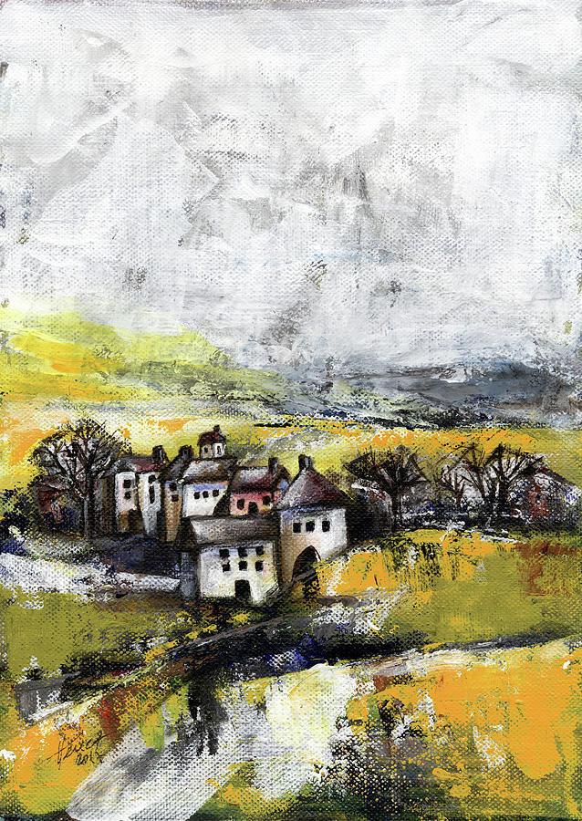 Landscape Painting - The pink house by Aniko Hencz