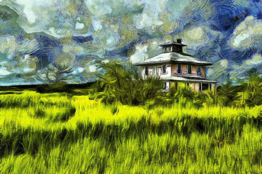The Pink House in Salt Marsh-Van Gogh Style by Betty Denise