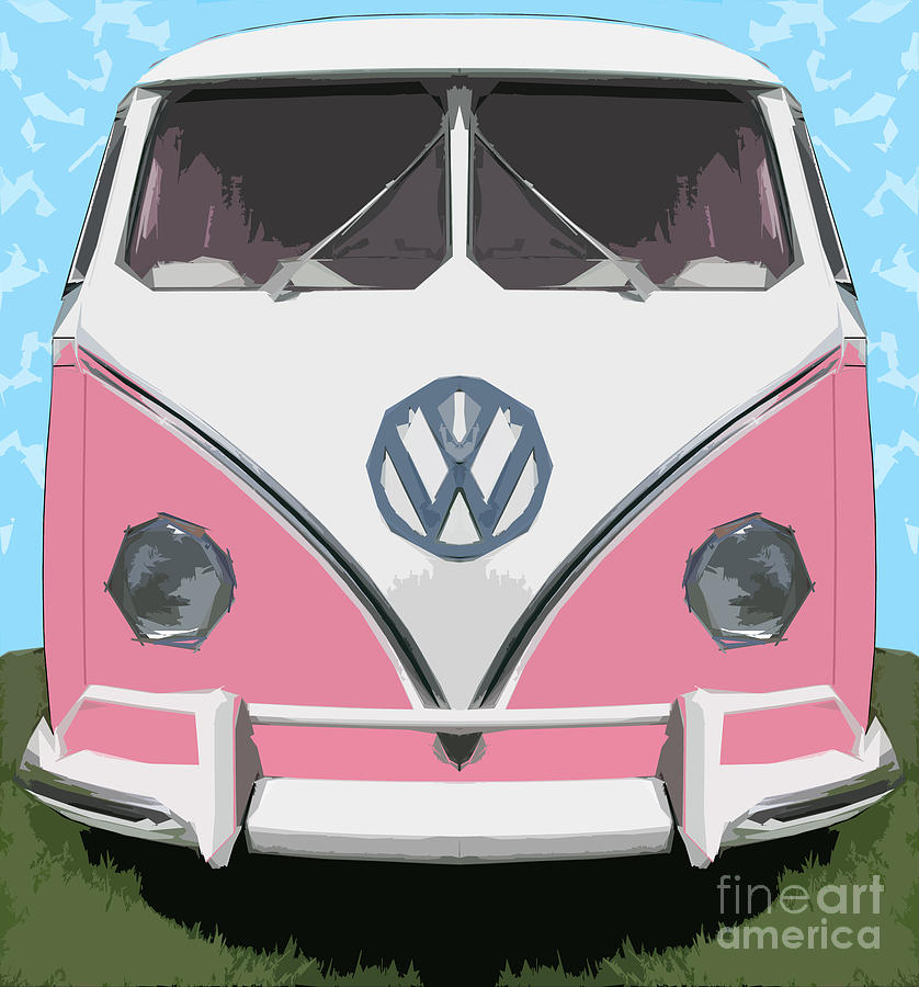 Automobile Digital Art - The Pink Love bus by Bruce Stanfield