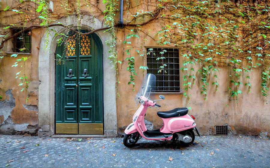 Italy Photograph - The Pink Vespa by Al Hurley