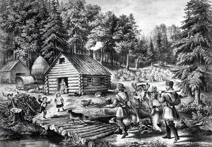 Pioneer Drawing - The Pioneers Home On The Western Frontier by Currier and Ives